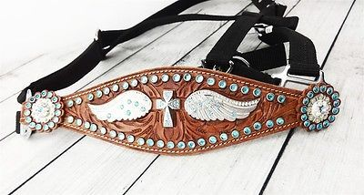 SILVER CROSS WINGS TURQUOISE GEM WESTERN HORSE HALTER BRONC NOSE BAND NYLON TACK