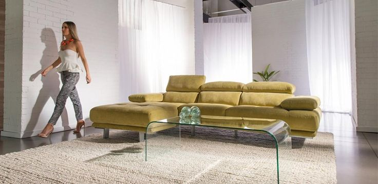 Modern design lounge in beautiful Casso fabric, with adjustable headrests.