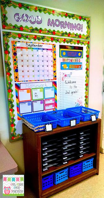 morning routine area in a 2nd grade classroom; student mailboxes