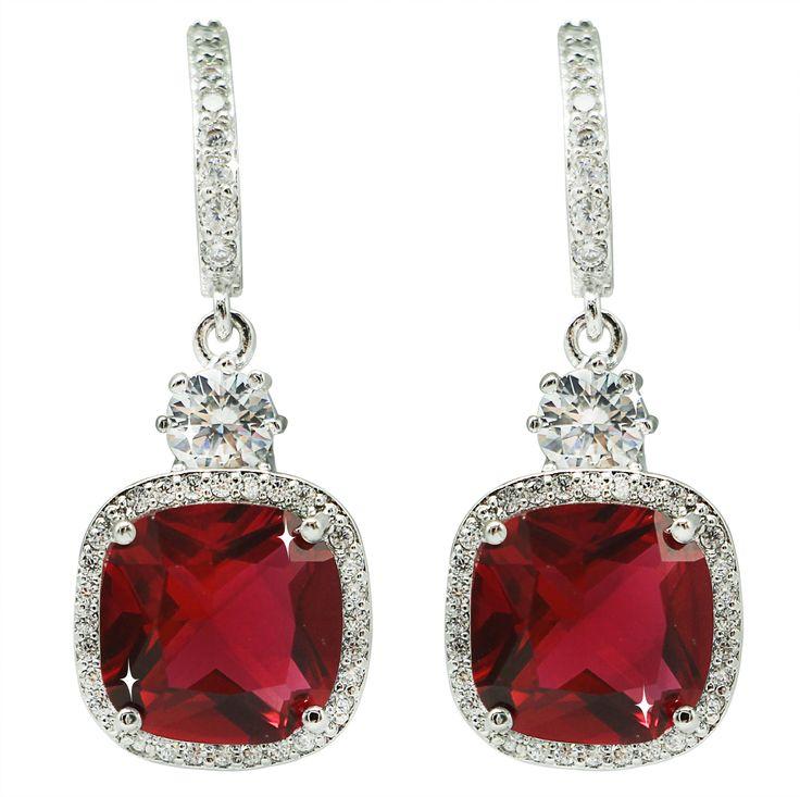 Ruby Color Zirconia  Earrings!!! Really beautiful