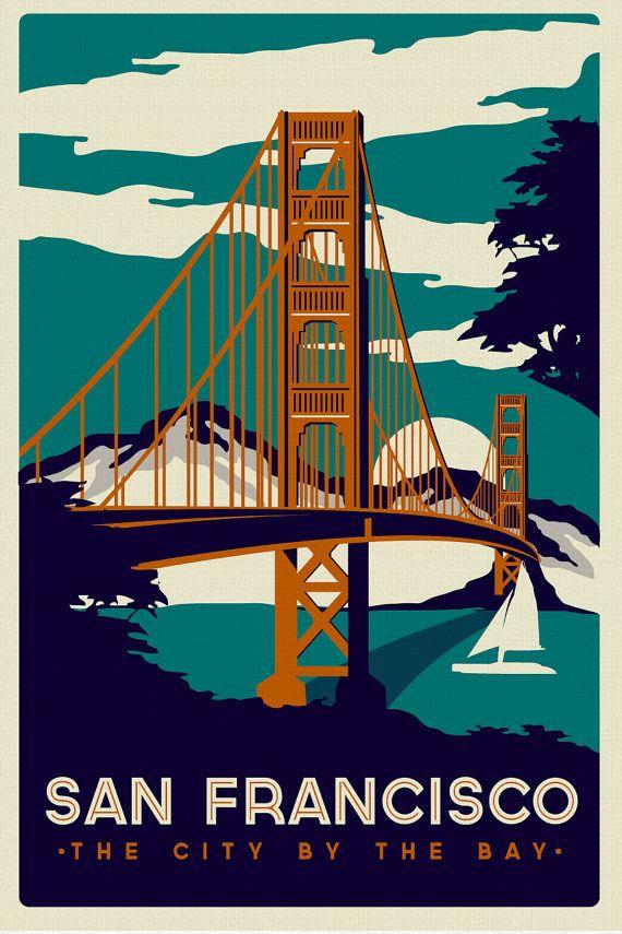 San Francisco Golden Gate Bridge Vintage Retro écran en soie imprimé affiche - Etsy