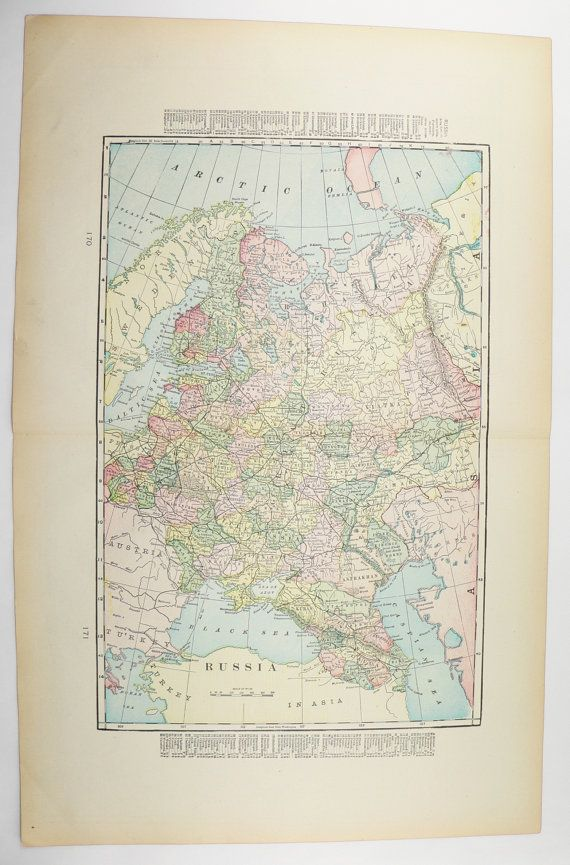 2015 Map Of Russia%0A Vintage Russia Map Italy  Austria Map Hungary      Historical Map   Genealogy Research  Antique
