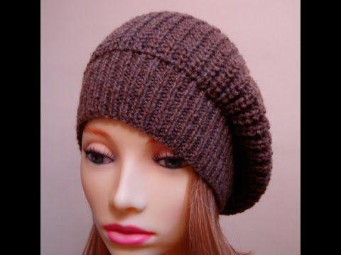 1-Шапка-берет, вязанный спицами/ beanie beret ( как смотать нитки в бобин на журнал и вязать одновременно в две нити с клубка) продолжение....