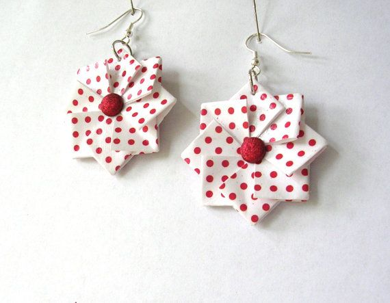 Origami Earrings  Christmas Red Polka Dot by PaperImaginations