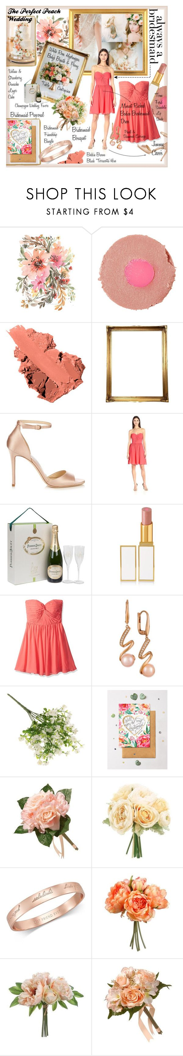 """""""Always the Bridesmaid."""" by style-queen-kc-nigz ❤ liked on Polyvore featuring Ellen Crimi-Trent, Tom Ford, Bobbi Brown Cosmetics, Jimmy Choo, Minuet, LE VIAN, National Tree Company and Kate Spade"""