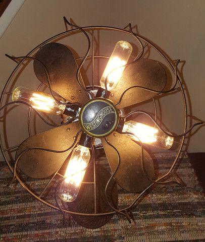 "Fan Lamp- Vintage Antique Lighting- Art Deco Gooseneck Base ""A Light Breeze"" by Jack Riley Lighting"