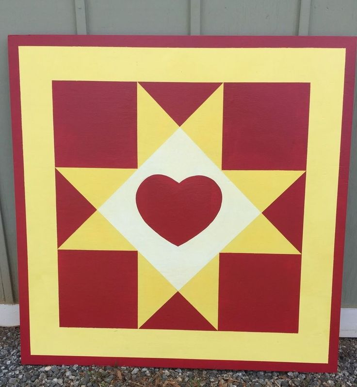 "Barn Quilt 36"" X 36"" - 1/2 Inch Plywood Handmade Heart - Can Be Customized in Other 