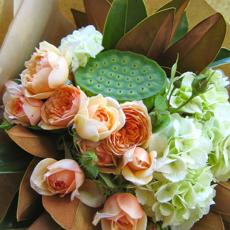 Roses, hydrangea, lotus pods