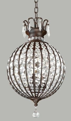 Provincial Bronze Round Chandelier Clear Crystal - 3 Light
