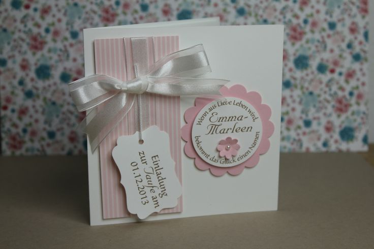 Taufkarte rosa - Stampin' Up!