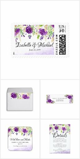 Ultra Violet Rose Floral Summer Wedding Collection. Beautiful choice for a summer wedding. Deep ultra violet purple roses are nestled in bright open and lacy greenery, vines and leaves. Dangling ultra violet flower buds give it a modern Bohemian and trendy vibe. A soft and muted purple watercolor wash creates a beautiful border along the bottom of the wedding invitation. #ad