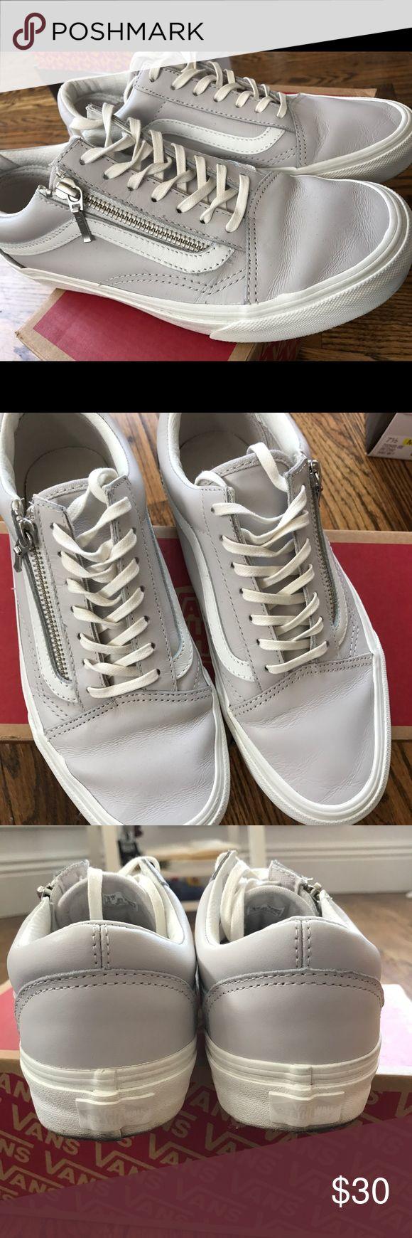 **WORN ONCE** Vans leather old skool zip sneakers **WORN ONCE** Vans old skool leather zip sneakers, color is a mix between lavender and grey! Vans Shoes Sneakers