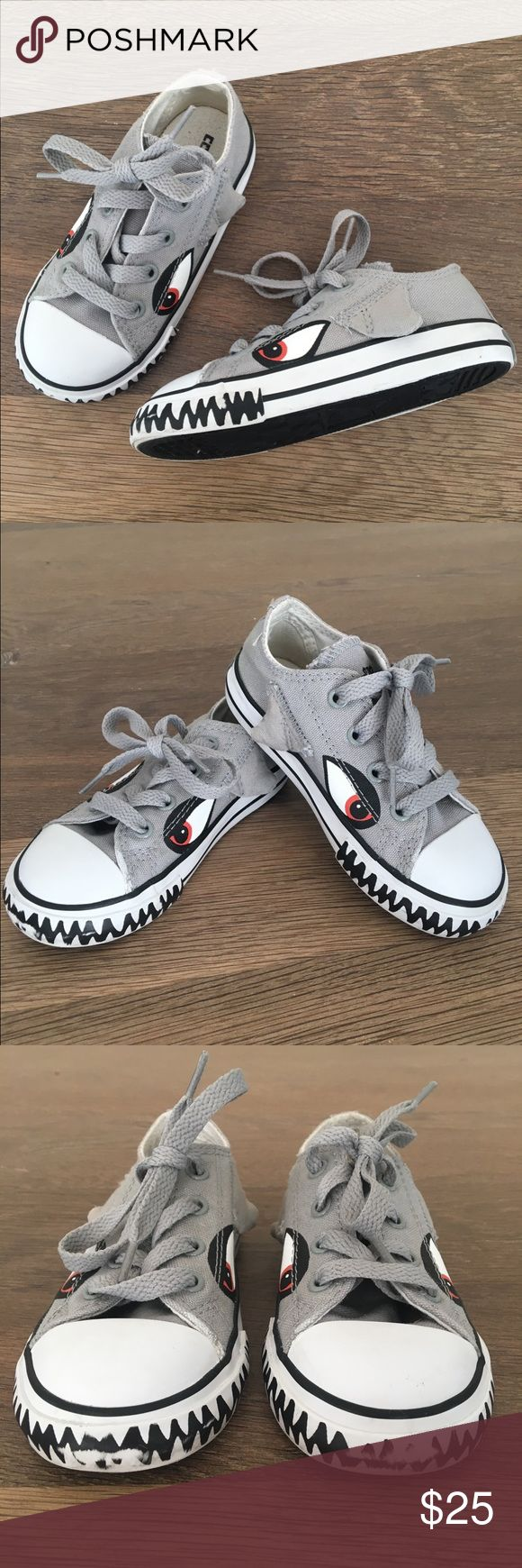Converse All Star Shark Sneakers Toddler The cutest toddler boy shoes! Lace-up sneakers. Gently worn for a photoshoot. Some scuffing at the front as pictured, otherwise in great condition. Converse Shoes Sneakers