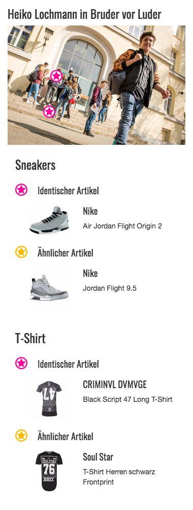 Wie sein Bruder trägt auch Heiko (Heiko Lochmann) ein paar Sneakers von Nike aus der Air Jordan Reihe. Passend zu seinem Outfit hat er sich für ein Modell in Weiß und Grau entschieden, dessen dynamische Formen und Hell-Dunkel-Kontraste toll mit seinem restlichen Style und vor allem mit seinem bedruckten T-Shirt harmonieren. Die Air Jordan Flight Origins 2 geben Heikos Look so den letzten Schliff.