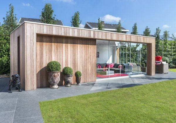 Box shape, vertical timber cladding