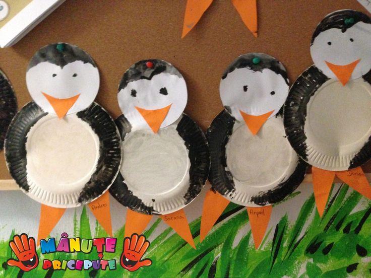 Manute pricepute - Lucru manual - Pinguini din farfurii de hartie