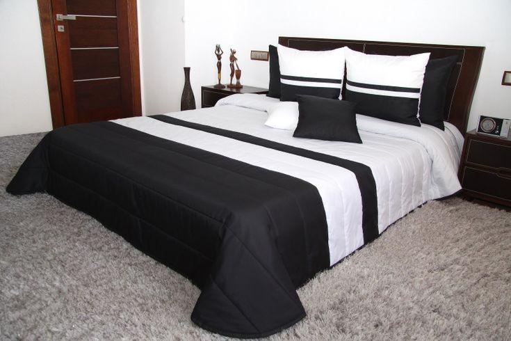 Eleganckie narzuty na małe i duże łóżka koloru czarno białego w paski