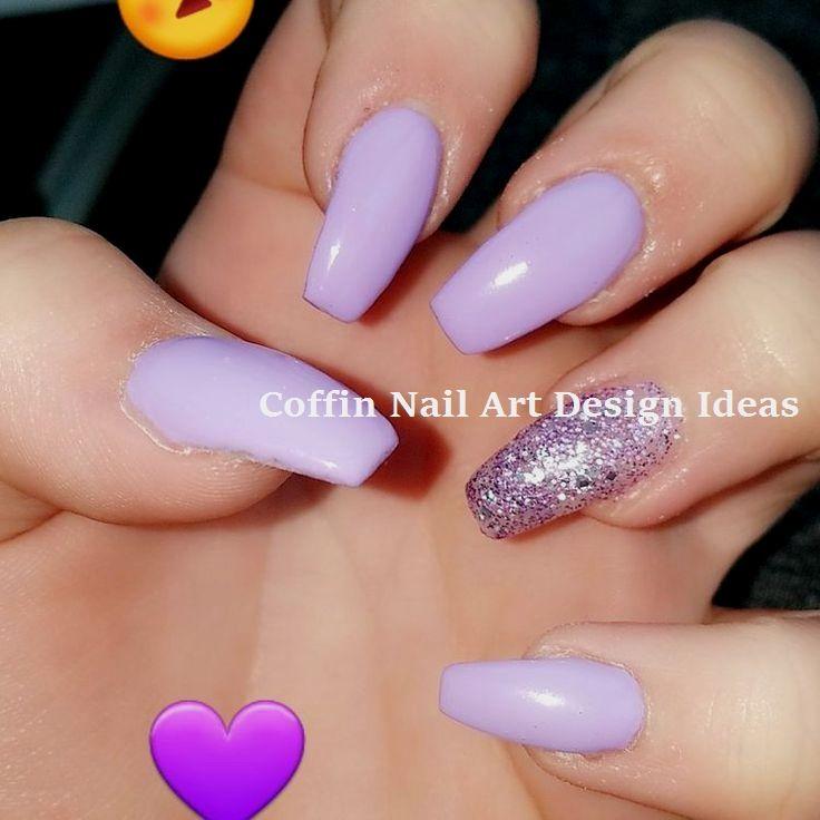 20 Trendy Coffin Nail Art Designs Nailideas Purple Glitter Nails Purple Acrylic Nails Cute Acrylic Nails