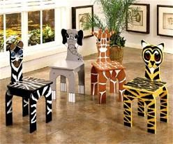 jungle theme classroom   Purchase jungle chairs from this online store or paint your own.