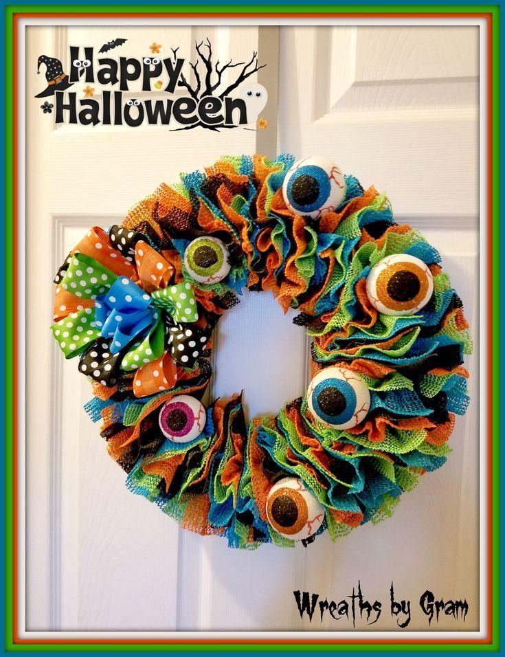 Halloween Wreath Front Door Wreath Front Porch Decor Farmhouse