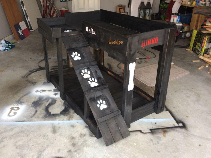 Pallet wood dog bunk bed