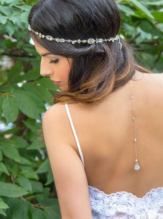 Sterling Silver Bridal Back Necklace, Silver Body Chain, Bridal Necklace Crystal, Bridal Backdrop Necklace, White Gold Necklace