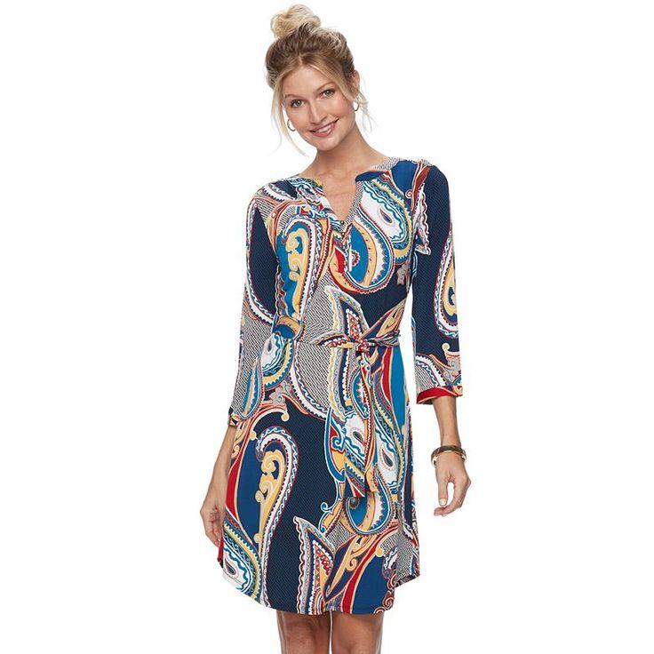 Women's Dana Buchman Shirtdress, Med Blue