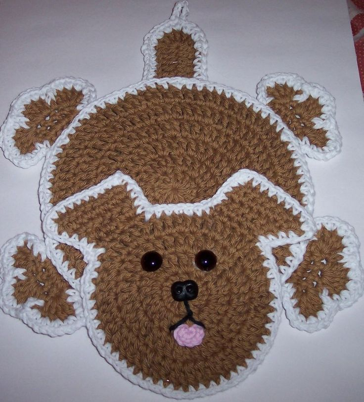 Crocheted Kitchen Potholder Puppy Dog Decoration #HandCrocheted