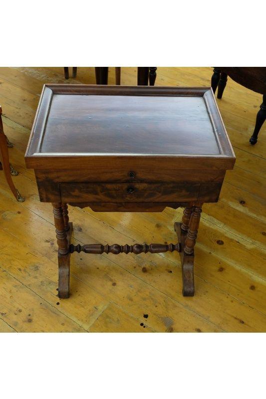 Tavolo da lavoro e piano a vassoio, apribile senza specchio, restaurato, periodo '800.
