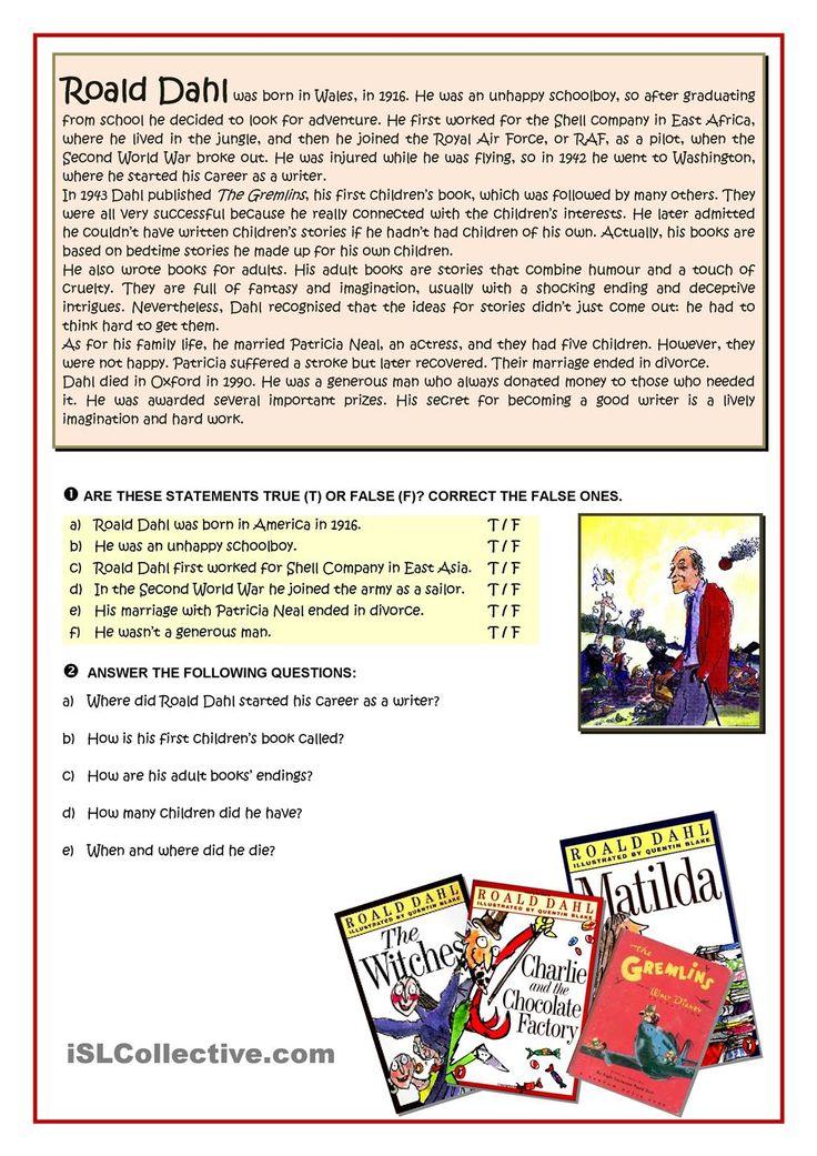 68 best reading worksheets images on pinterest kindergarten esl worksheets see more roald dahl reading ibookread Download