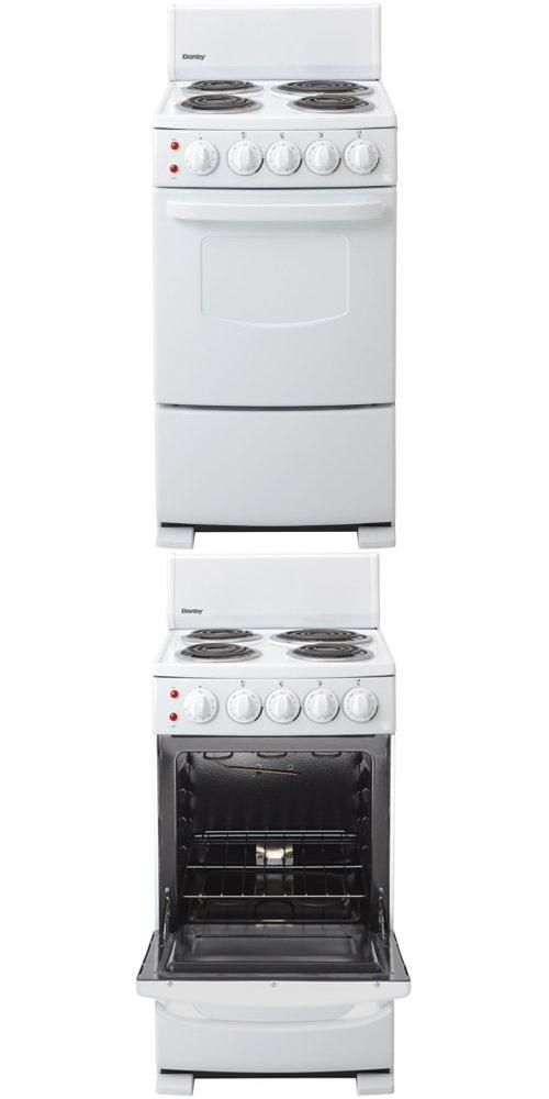 20 Freestanding Electric Range with 4 Coil Burners 2.6 cu. ft. Oven Manual Clean and Bottom Broiler DER2009W 20 Electric Range, Coil Elements,Push & Turn Safety Knobs,Manual Clean.  #Danby #Major_Appliances