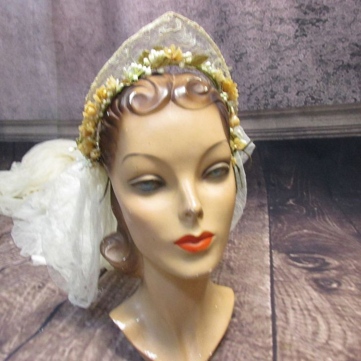 GY-antique vintage 20s-30s wedding tiara veil-12' silk tulle+wax flowers