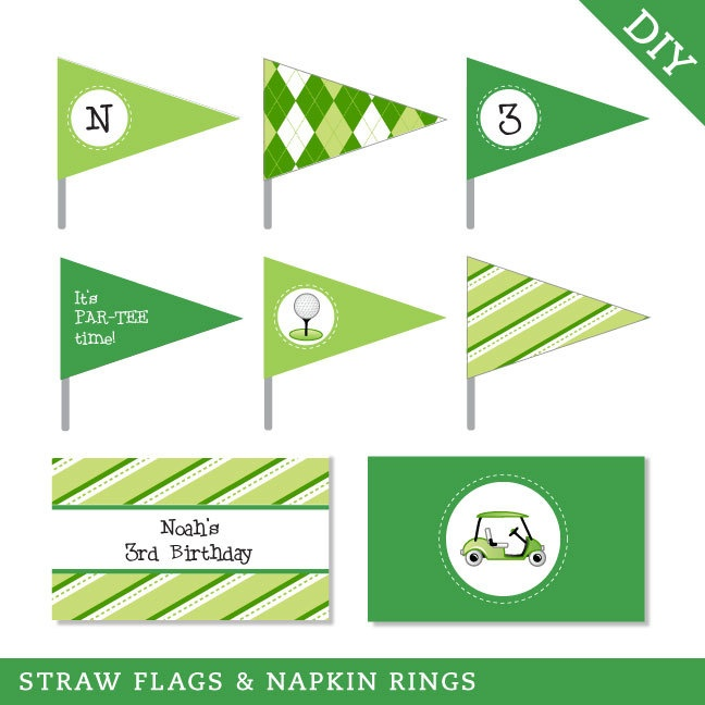 Golf party - Personalized DIY printable straw flags and napkin rings. $12.00, via Etsy.: Party'S, Napkin Rings, Personal Diy'S, Straws Flags, Napkins Rings, Golf Party, Party Idea, Printables Straws, Diy'S Printables