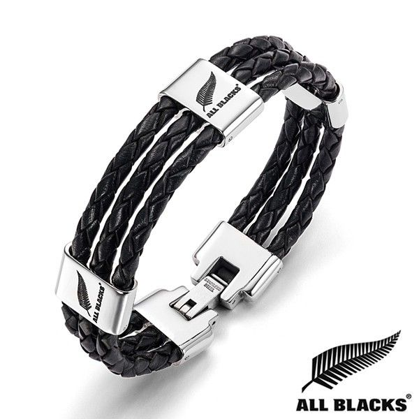 Bracelet Acier TRIPLE CUIR TRESSE PLAQUETTE LOGO ALL BLACK | BIJOUX ACIER POUR HOMME | RUGBY | WWW.TERREDEBIJOUX.COM