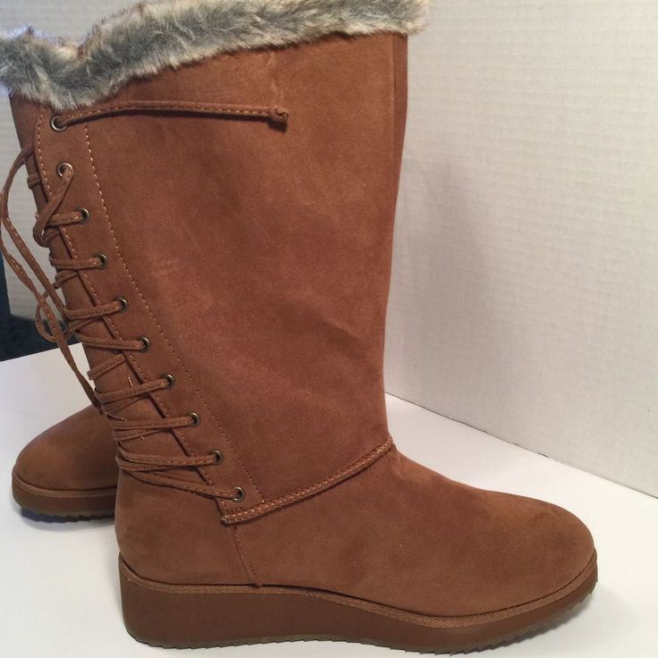 Rampage Camel Mirco Suede Boots, Lace Back Womens Size 7.5 $70Val #Rampage #MidCalfBoots #Casual