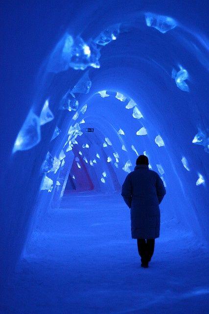 Frozen blue corridor at Levi Ice Hotel (Finland)