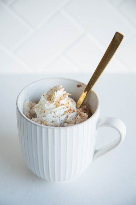 Mug Rice Pudding || 1 large egg 1/3 cup granulated sugar 3/4 cup whole milk 1 teaspoon vanilla extract 1/2 teaspoon cinnamon Pinch salt 1 1/2 cups cooked rice, any kind