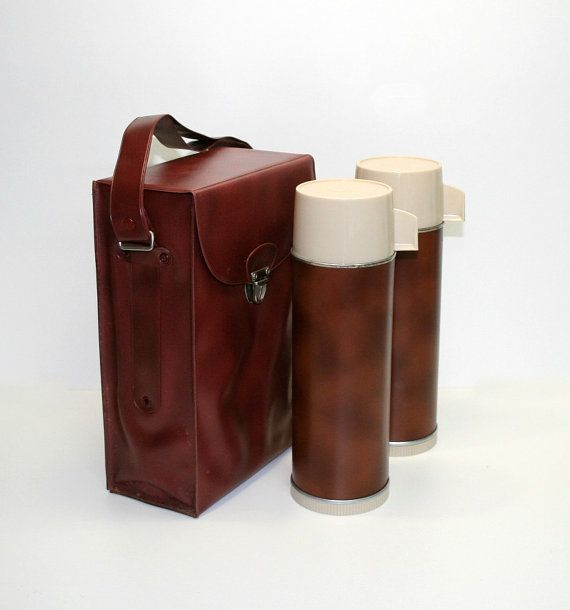 Vintage Aladdin Thermoses with Brown Carry Case, Aladdin Thermos