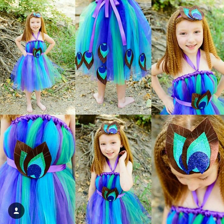 Peacock Tutu Dress with matching Headband in Purple Silk Ribbon Halter and Sash. Perfect for Halloween!
