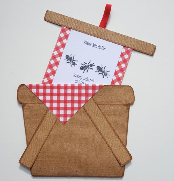 8 pack of Customizable Picnic Basket Invitations with Envelopes  Get your guests excited about your party or send a summer greeting with these
