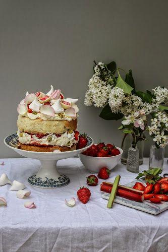 strawberry rhubarb and rose eton mess cake and rhubarb apple and pistachio tart