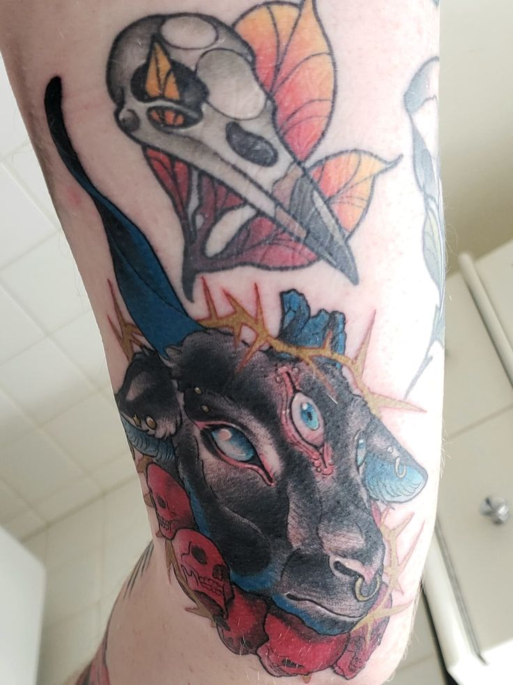 3 eyed goat by charline marcila of rockwell tattoo in