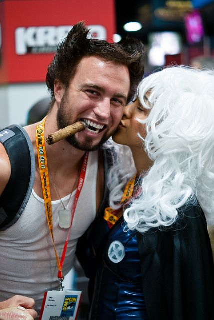 Storm Kissing a thrilled Wolverine by sdoorly, via Flickr