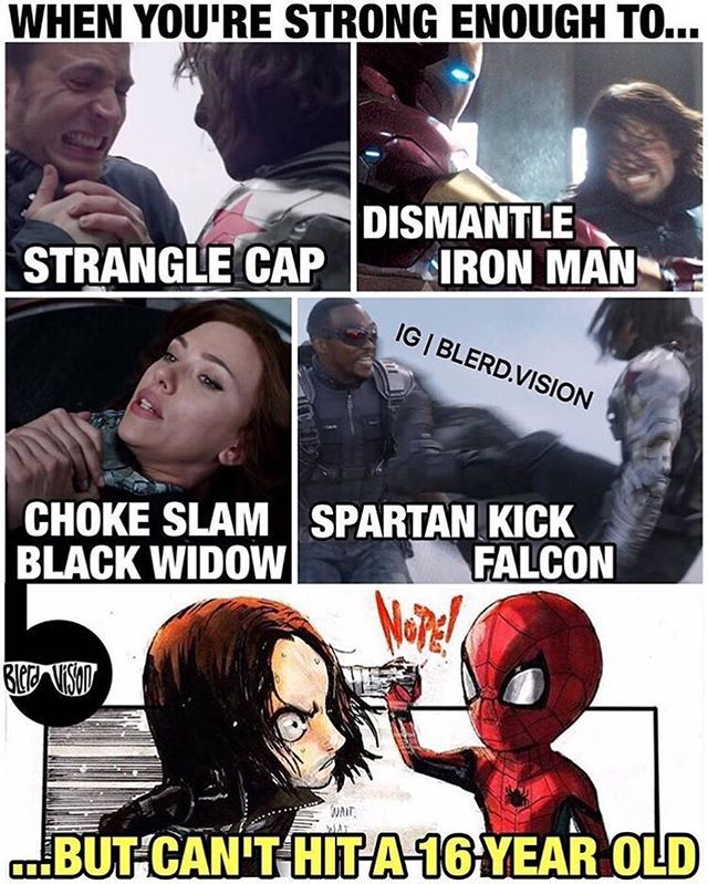 The fact that he's a FREAKING SIXTEEN YEAR OLD IS WHAT made Bucky my precious child not hit him I MEAN COME ON who would do that?!?!