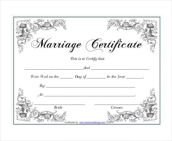 free printable marriage certificate template