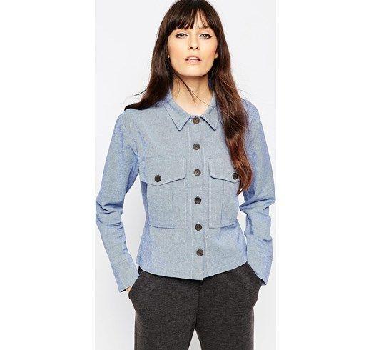 ASOS - Camicia casual in chambray con bottoni - Blu asos blu