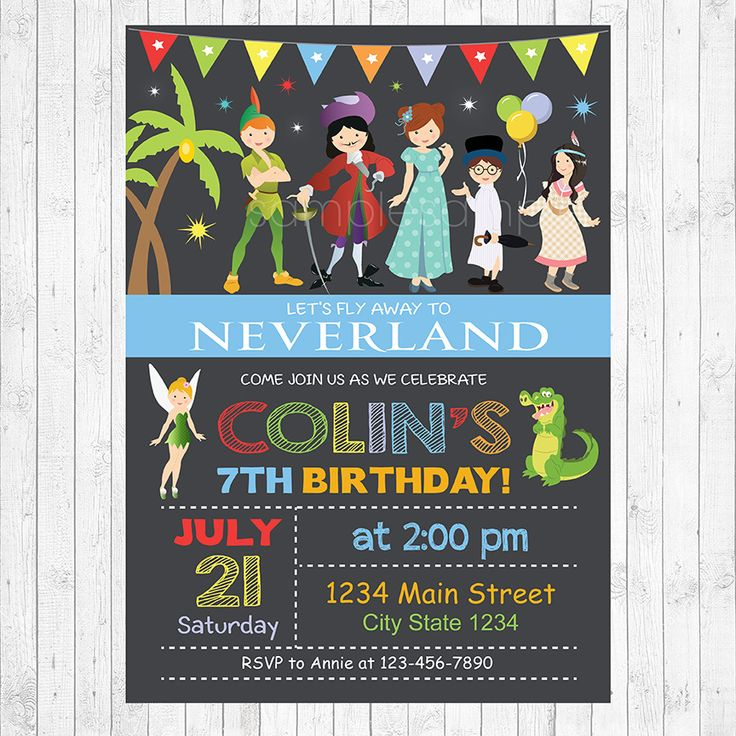 Neverland Birthday Party Invitation Card - Digital Printable file - Neverland Invitation, Invite, card, party, birthday, story, kids, peter pan invitation, tinkerbell, tiger lily, captain hook, wendy, john, michael, peter pan invitation, peter ...