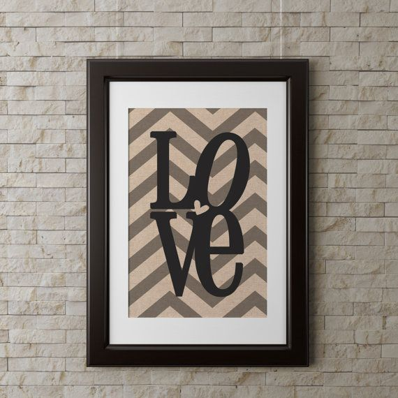 INSTANT DOWNLOAD LOVE wall art, modern, chevron, neutral, family room wall art 8x10 printable