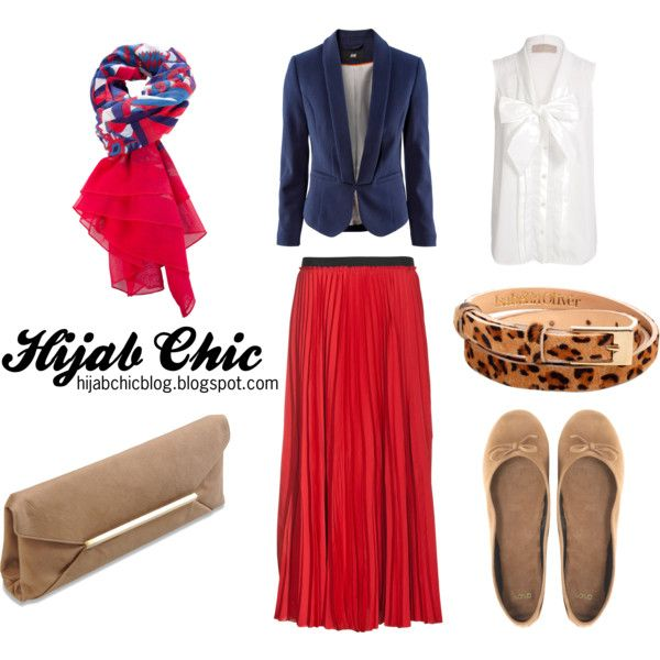 """""""Hijab style inspiration: red skirt"""" by fashion4arab on Polyvore"""