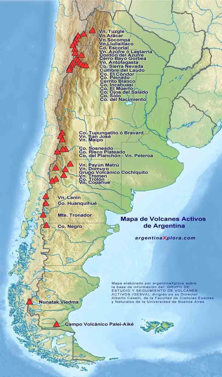 Mapa de los Volcanes Activos de Argentina